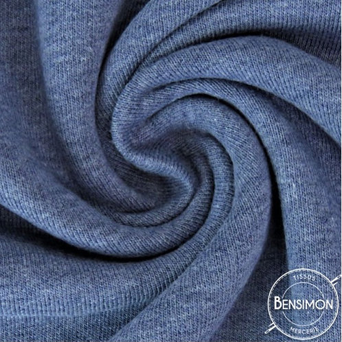 Tissu sweat molleton jogging coton oekotex bleu jeans