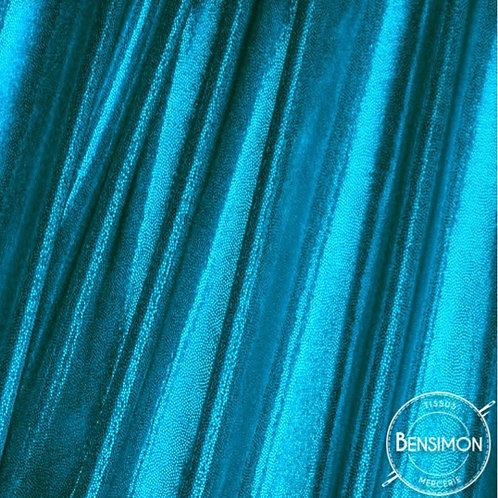 Tissu extensible Lycra stretch lamé brillant pailleté justaucorps académique turquoise