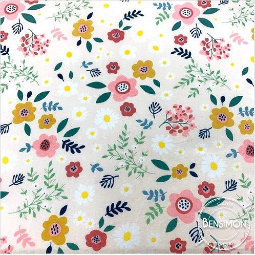 Tissu coton imprimés - Fleurs Liberty Emma beige X 50cm
