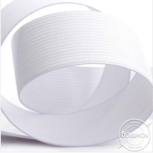 Élastique plat tissé 50mm - Blanc ou Noir