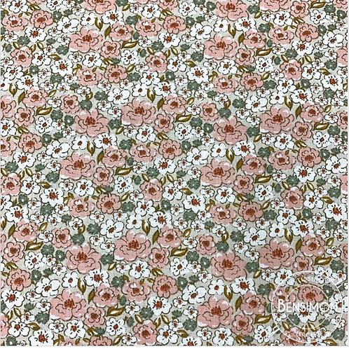 Tissu coton imprimés - Fleurs Kalamia eucalyptus rose X 50cm