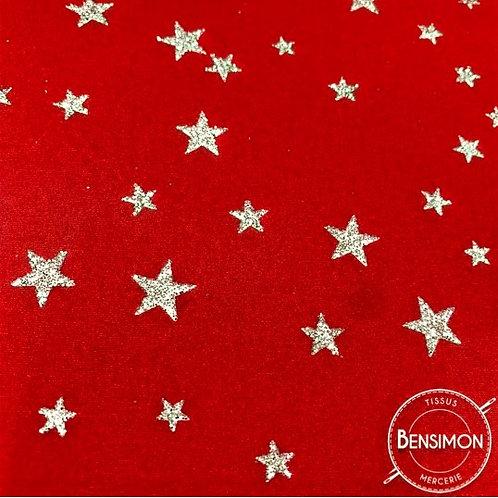 Tissu extensible Lycra stretch lamé brillant pailleté justaucorps académique danse étoile rouge