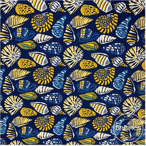 tissus coton imprimé oekotex coquillages moutarde jaune bleu