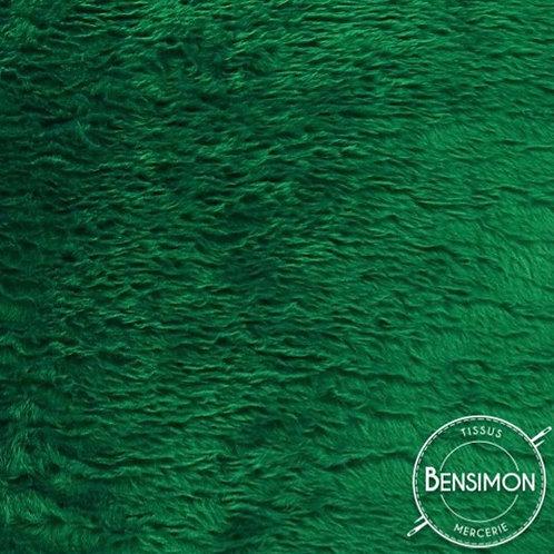 Tissu effet Fourrure poils courts - Vert sapin X 50cm