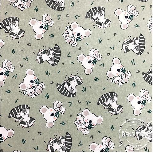 Tissu coton imprimés - Koala & Raton laveur X 50cm