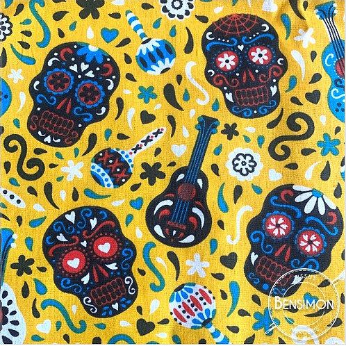 Tissu coton imprimés - Calavera tête de mort - Moutarde X 50cm