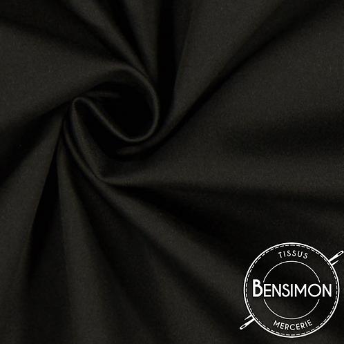 Tissu satin duchesse - Noir X 50cm