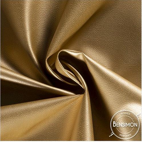 Tissu Simili Cuir Grainé - Doré X 50cm