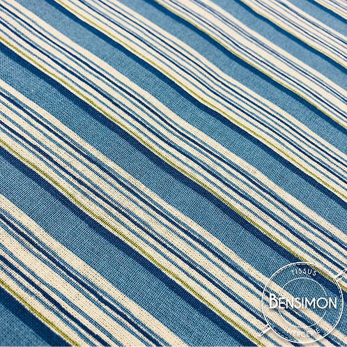 Tissu coton imprimés - Rayures bleues X 50cm