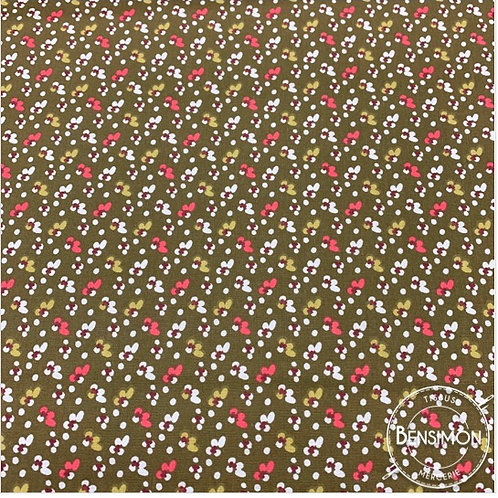 Tissu coton imprimés - Liberty PIO Kaki X 50cm