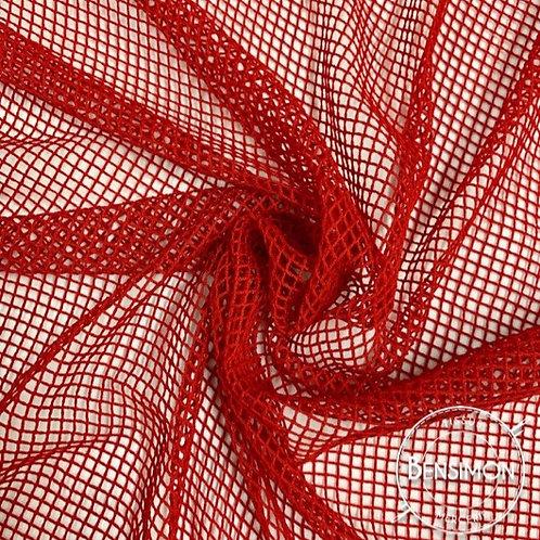 Tissu Résille élasthanne - Rouge X 1M
