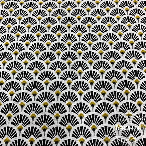 Tissu coton imprimés évantail noir doré or japonais