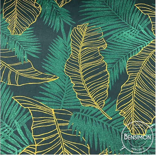 Tissu coton imprimés - Feuillages Anaga vert moutarde X 50cm