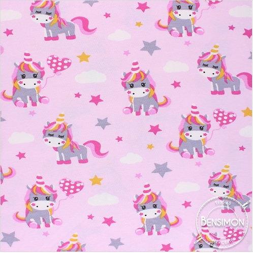 Tissu coton imprimés - Lisou Licorne rose X 50cm