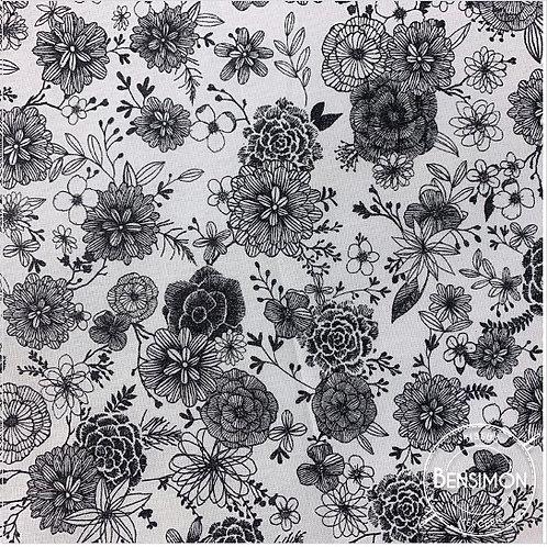 Tissu coton imprimés - Floral monochrome X 50cm