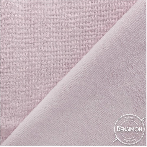 Tissu éponge Bambou OekoTex - Vieux rose X 50cm