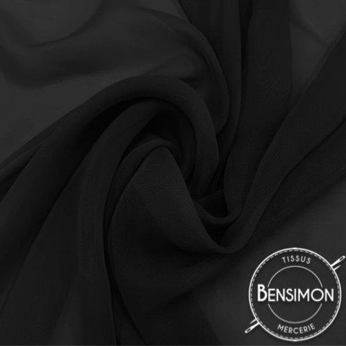 Tissu Mousseline - Noir X 50cm