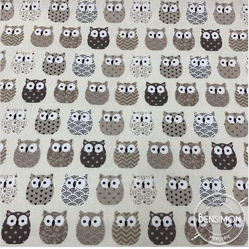 Tissu coton imprimés - Mini hiboux beige X 50cm