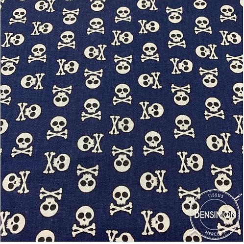 Tissu coton imprimés - Tête de mort bleu marine X 50cm
