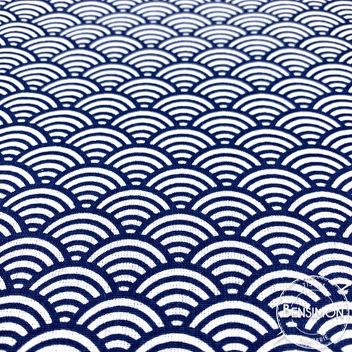 Tissu coton imprimés - Sushi bleu indigo X 50cm