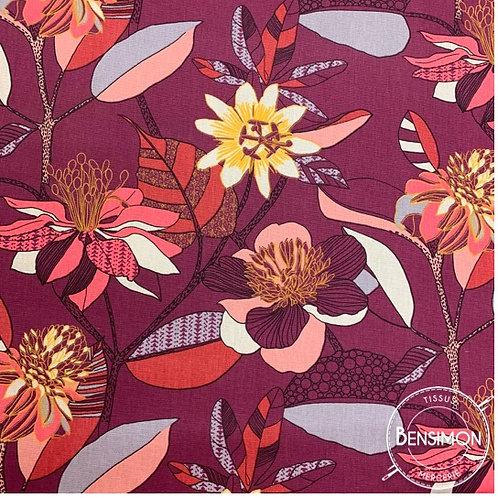 Tissu Demi natté 100% coton - Echinops prune X 50cm
