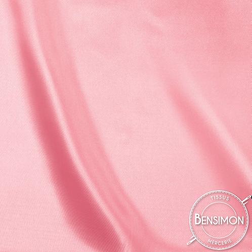 Tissu satin uni léger - Rose X 50cm