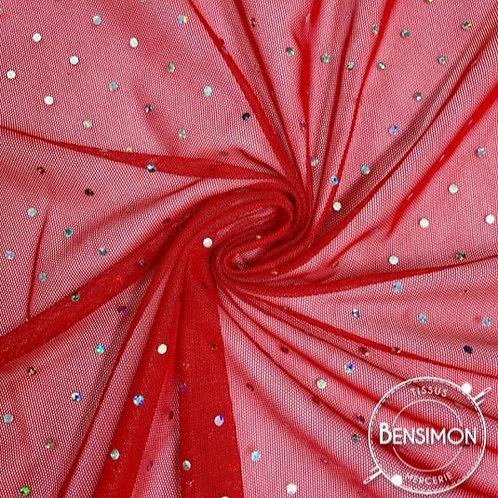 Tissu Tulle élasthanne Diamond - Rouge X 50cm