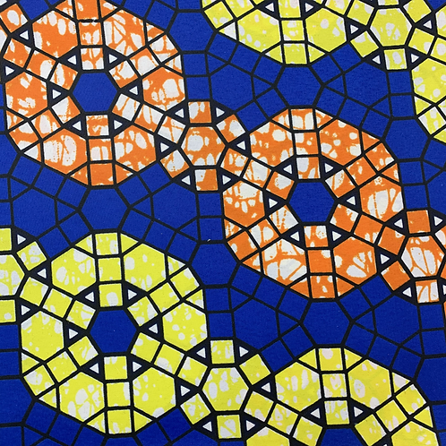 Tissu imprimé WAX - Motifs orange et jaune fond bleu