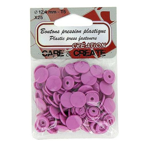 Boutons pression plastique 12,4 mm Violet X 25