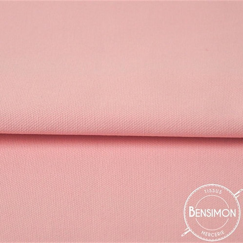 Tissu natté Gabardine Coton - Rose clair X 50cm