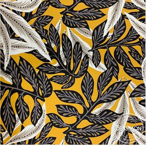 Tissu coton imprimés - Feuillages Mathis moutarde X 50cm