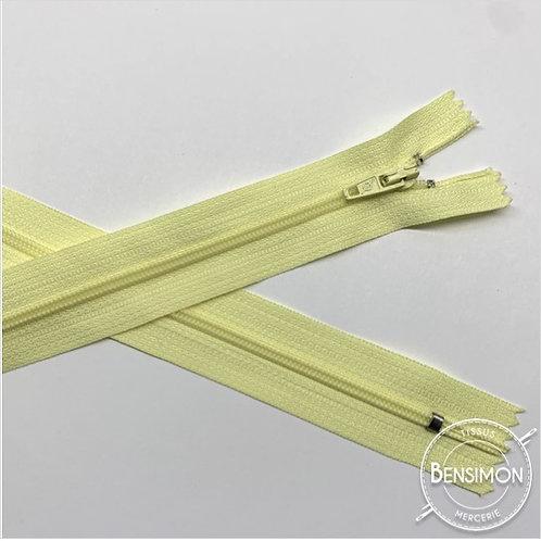 Fermetures nylon 3mm non séparables - Jaune pâle 20 à 60cm
