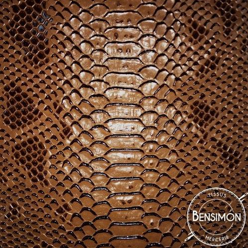 Simili cuir peau crocodile komodo marron
