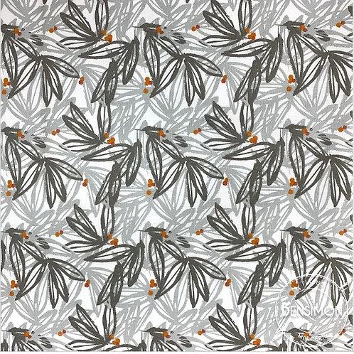 Tissu coton imprimés - Feuillage gris terracotta X 50cm