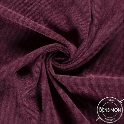 Tissu velours cotelé 1000 raies millesraies lie de vin