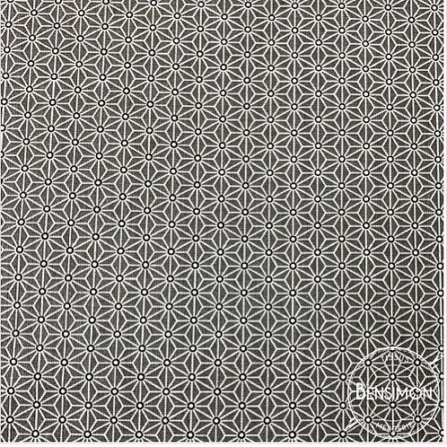 Tissu coton imprimés - Motifs japonais Saki gris X 50cm