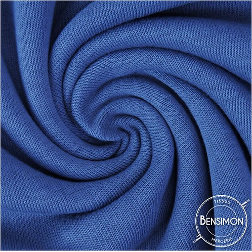 Tissu Molleton sweat en coton - Bleu Indigo X 50cm