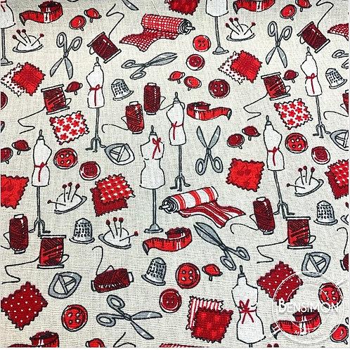 Tissu coton imprimés - Boite à couture Mercerie X 50cm