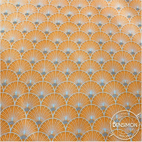 Tissu coton imprimés - New Eventails lurex - Safran & Argent X 50cm