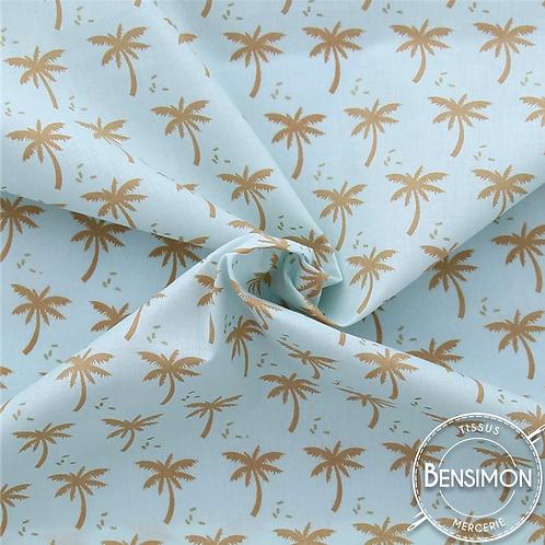 Tissu coton imprimés - Palmiers palmeraie doré X 50cm