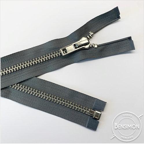 Fermeture métal grosse 8mm séparable - Gris Argent