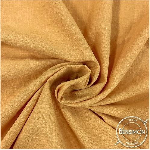 Tissu crêpe de coton uni - Moutarde X 50cm