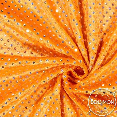 Tissu Panne de Velours pailleté - Orange X 50cm