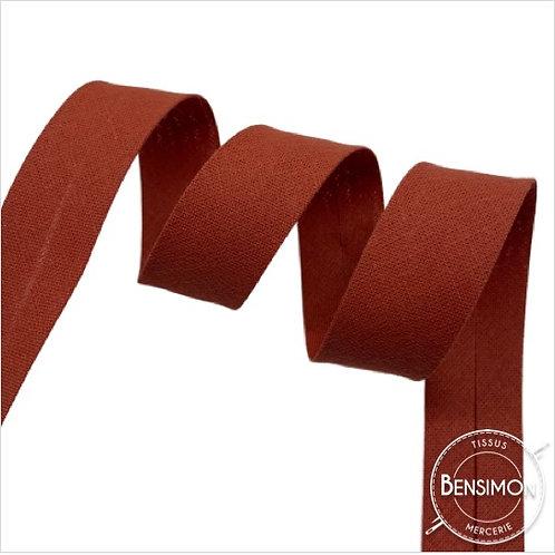 Biais coton replié 20mm - Brique tomette n°1095