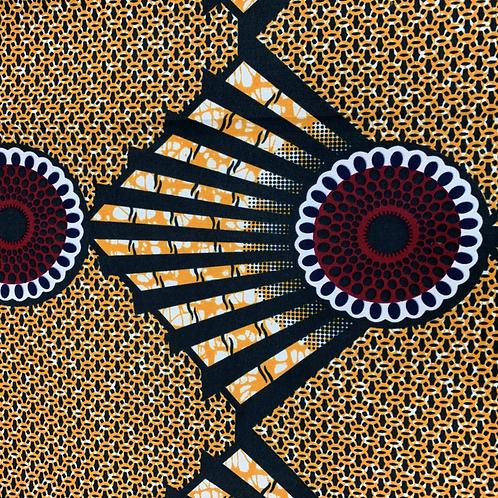 Tissu imprimé WAX - Motifs orange et bordeaux  X 1M
