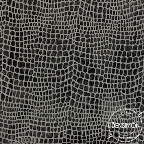 Tissu Simili Cuir Aligator - Gris X 50cm