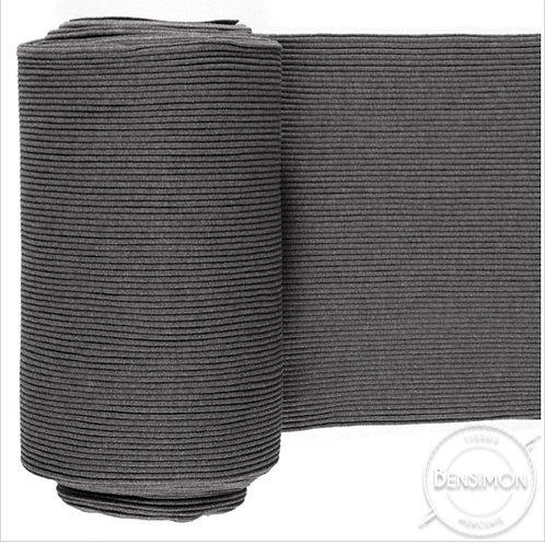 Tissu bord côte tubulaire - Gris moyen chiné X 50cm