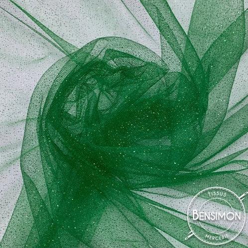 Tissu Tulle à paillettes - Vert X 1M