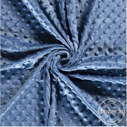 Tissu Minky à Pois - Bleu Jeans X 50cm