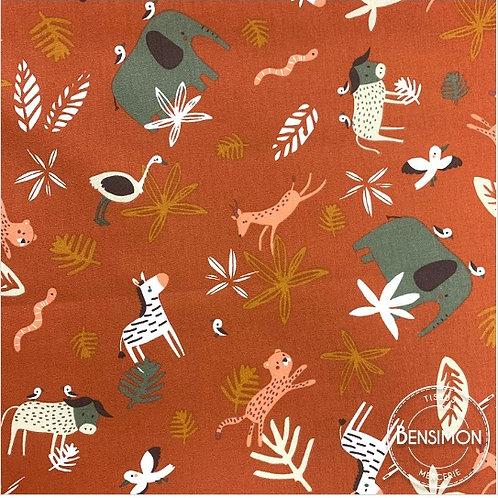 Tissu coton imprimés - Safari terracotta X 50cm